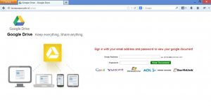 Google Drive phishing scam website landing page