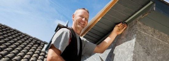 happy roofer with a virtual office